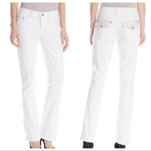 Seven7 Slim Boot White Jeans Embroidered Pockets 6